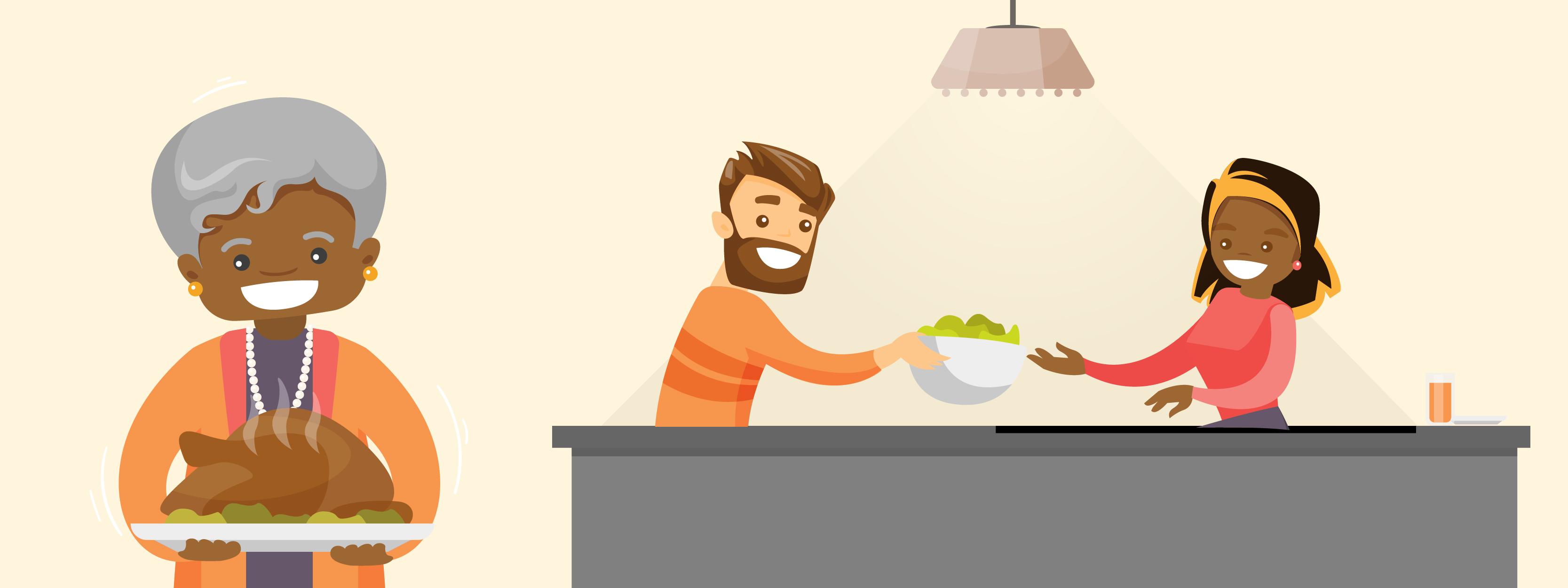 dîner de thanksgiving sur une cuisine à petit budget