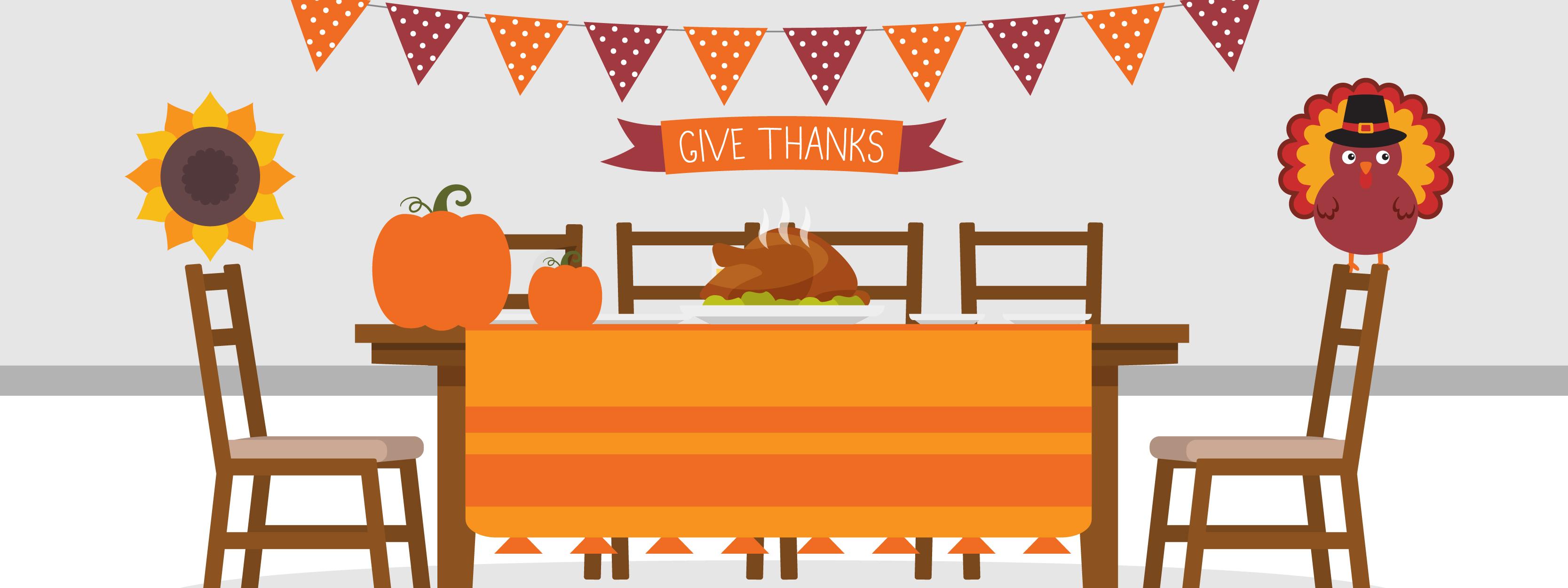 dîner de thanksgiving sur un décor économique